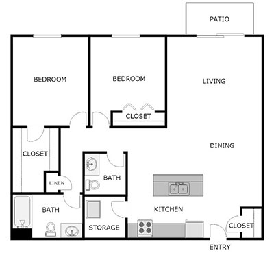 2 bed, 1.5 bath floor plans